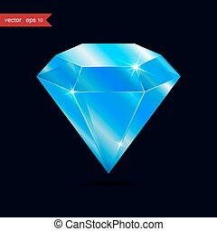 Diamond isolated on dark background, blue color