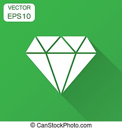 Diamond jewel gem vector icon in flat style. Diamond gemstone illustration with long shadow. Jewelry brilliant concept.