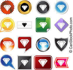diamond jewel variety icon set - diamond jewel isolated on a...