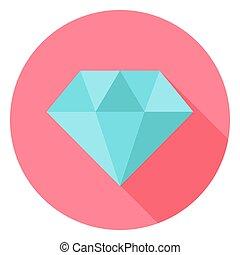 Diamond Jewelry Circle Icon with long Shadow