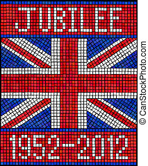 Diamond Jubilee concept. A Union Jack flag made from mosaic tiles. EPS10 vector format.