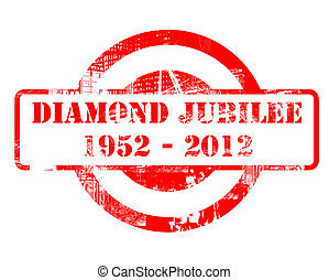 Diamond Jubilee stamp for Queen Elizabeth II after 60 years on the throne, concept. 1952-2012.