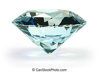 Diamond - large ablaze diamond on a white background