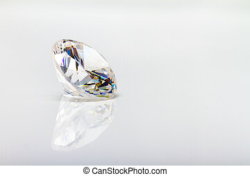Diamond - Large diamond isolated on a reflecting surface