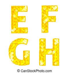 Diamond letters E, F, G, H