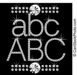 diamond letters with gemstones 01 - vector diamond letters...