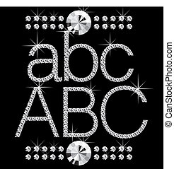 vector diamond letters with gemstones isolated on black