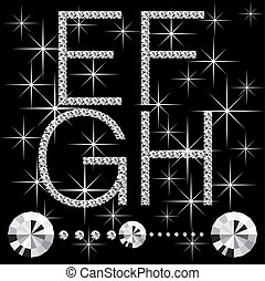 diamond letters with gemstones 06 - vector diamond letters...