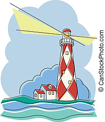 Diamond Lighthouse - Vector illustration of a red and white ...