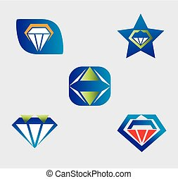 Diamond logo vector icons set