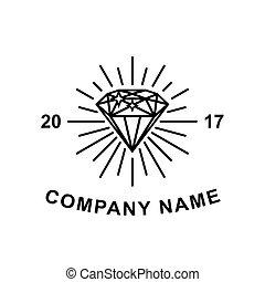 Diamond logotype concept. Black diamond outline icon for logo or illustration