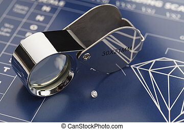 Diamond Loupe and Chart - Blue Diamond Grading Chart with...