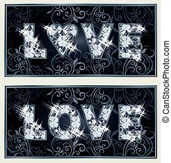 Diamond Love banners, vector