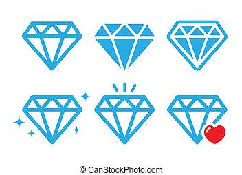 Diamond luxury vector icons set