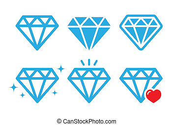 Diamond luxury vector icons set