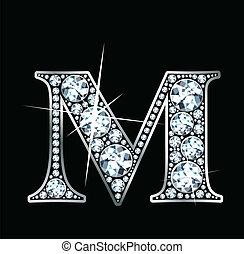 "Diamond ""M"" - A stunningly beautiful ""M"" set in diamonds and..."