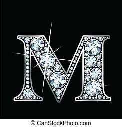 """Diamond """"M"""" - A stunningly beautiful """"M"""" set in diamonds and..."""