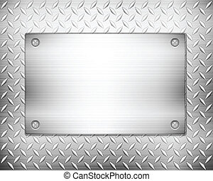 diamond metal background and plate - Pattern of metal...