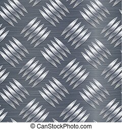 Diamond Metal Plate Seamless Vector Pattern. Corrugated Aluminum Sheet. Metal Seamless Background. Vector Illustration.