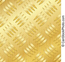 Diamond Metal Plate Seamless Vector Pattern. Corrugated Aluminum Sheet. Golden Metal Seamless Background. Vector Illustration.