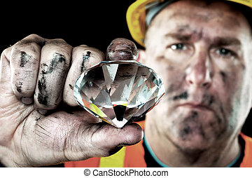 Diamond Miner - A dirty diamond miner covered in soot shows...