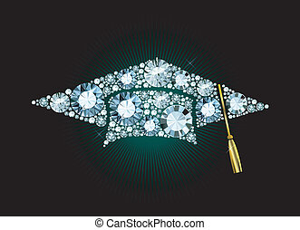 Diamond Mortar Board - Graduation Cap made of gems