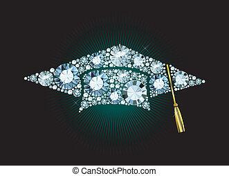 Diamond Mortar Board - Graduation Cap made of gems