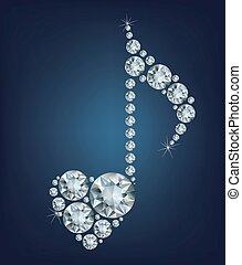 Diamond Music Note symbol with hear