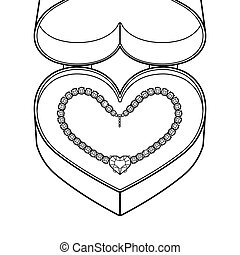 Diamond necklace coloring book vector