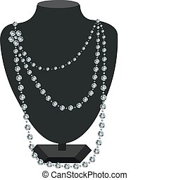 Diamond necklace on a mannequin - Diamond necklace on a...
