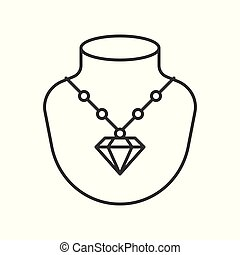 diamond necklace with pendant, jewelry related, outline icon