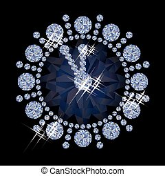 Diamond new year clock, vector