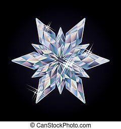 Diamond new year snowflake, vector