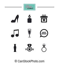diamond., obietnica, ślub, ring, icons.