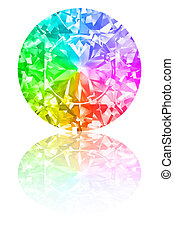 Diamond of rainbow colours on glossy white background. High resolution 3D render with reflections
