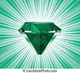 Diamond on a green background. Vector