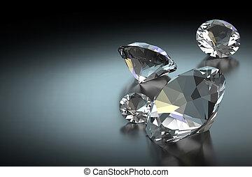 Diamond on Black Background, 3D Rendering
