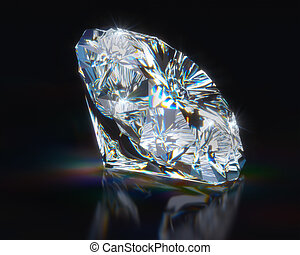 Diamond on black reflective background. 3d render