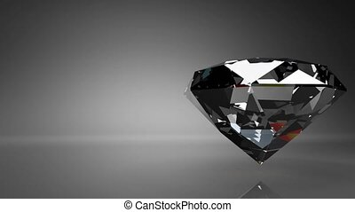 Diamond on black text space. Loop able 3D render Animation.