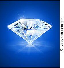 Diamond on blue background. Vector illustration.