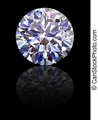 Diamond on glossy black background. High resolution 3D...