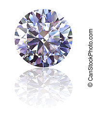Diamond on glossy white background. High resolution 3D render with reflections