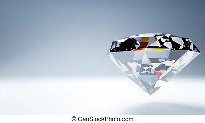 Diamond on white text space. Loop able 3D render animation.