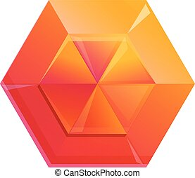 Diamond orange icon, cartoon style
