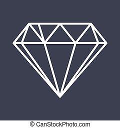 Diamond outline icon. Flat vector style illustration