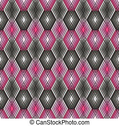 Diamond Outline Pattern Pink-Grey