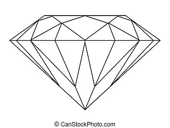 Diamond outline - Simple black and white diamond outline ...