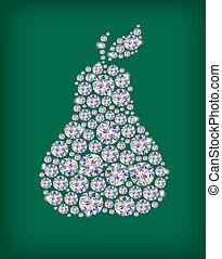 Diamond pear. Illustration contains transparent object. EPS 10.