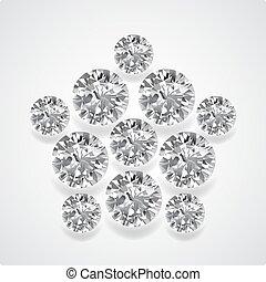 Diamond pentagon brooch