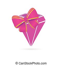 diamond pink vector with bow